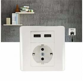 2.1A Dual USB Ports Wall Plate Charger Adapter EU Plug Wall Socket Power Outlet Panel White