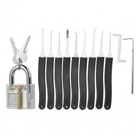 19-in-1 Practice Padlock Set with Locking Picking Tools Transparent