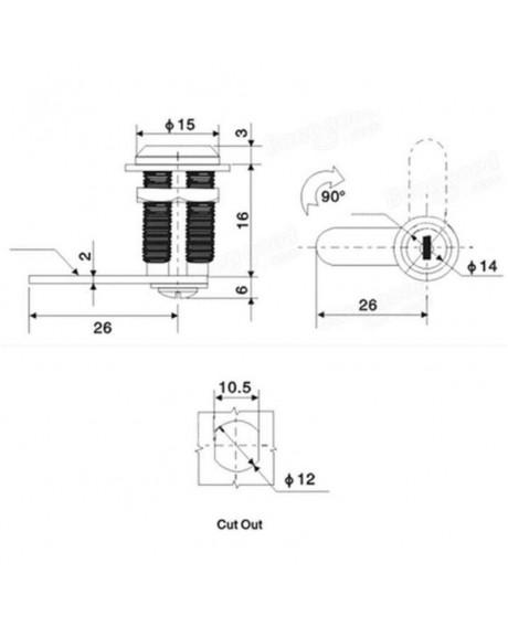 Cam Lock Desk Drawer Lock with 2 Keys for Cupboard Mailbox etc