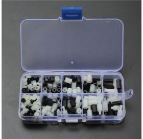 300pcs M3 Nylon Hex Screw Nut Spacer Standoff Assortment Kit Black & White