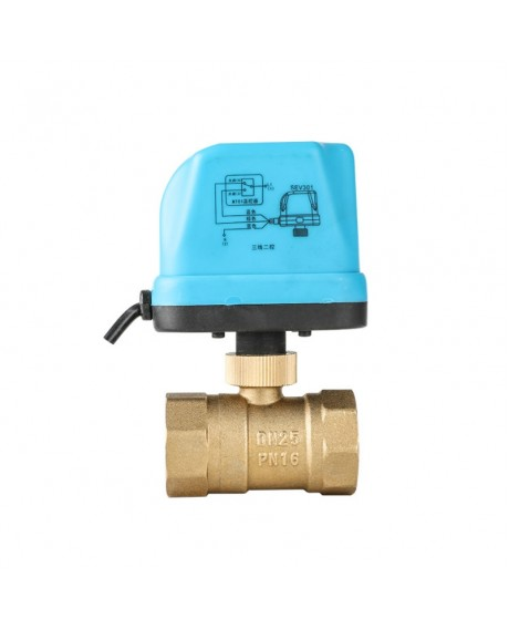 "1"" Motorized Electric Brass Ball Valves 3 Wire AC 220V Full Port Valve - DN25"