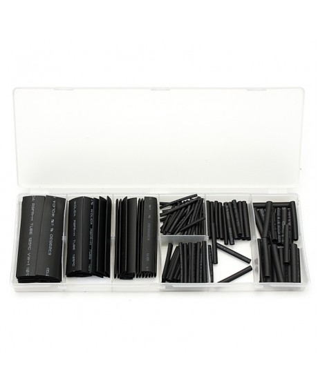 127pcs Halogen-free Polyolefin 2:1 Heat Shrink Tube Sleeve Assortment Kit Black
