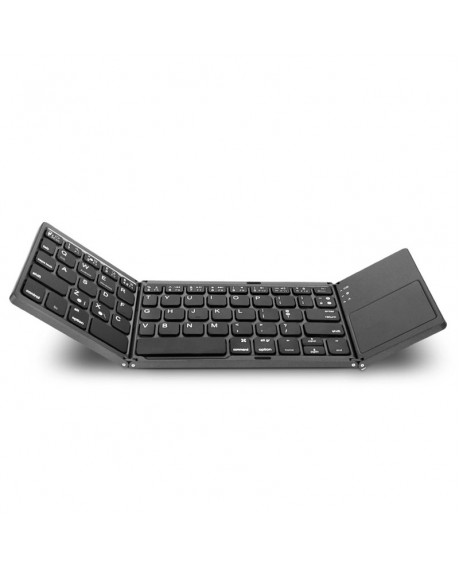 Foldable Wireless Keyboard Bluetooth Rechargeable BT Touchpad Keypad for IOS/Android/Windows ipad Tablet - Black
