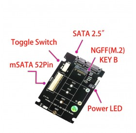2 in 1 Combine Mini PCI-E M.2 NGFF & mSATA SSD To SATA 3.0 III Adapter