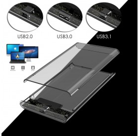 2.5'' Transparent HDD Case SATA 2.0/3.0/3.1 to USB 3.0 External Hard Disk Drive SSD Enclosure Box