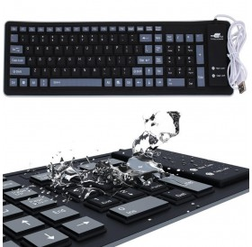 Keyboard with Usb Cable Foldable Silicone Keyboard USB Wired Silicone Flexible Soft Waterproof Roll Up Silica Gel