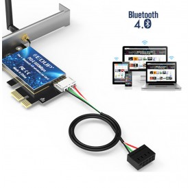 2.4GHz/5.8Ghz Dual Band AC600 WiFi Bluetooths PCI Express Adapter With 2*5DBi Antenna wifi laptop card