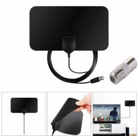 50 Mile Range Indoor HDTV Amplified HD TV Antenna Thin Flat 10FT Coax Black