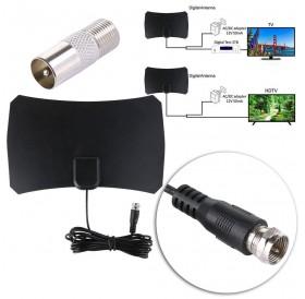 50 Mile Range Thin Flat Indoor HDTV Amplified HD TV VHF Antenna 10FT Coax Black