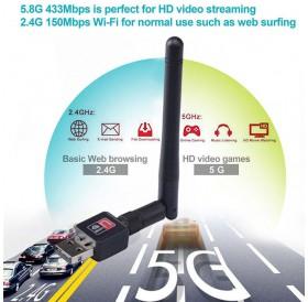 150 Mbps Dual Band 2.4/5Ghz Wireless USB WiFi Network Adapter w/Antenna 802.11AC