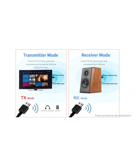 2-in-1 USB Bluetooth V5.0 Audio Transmitter & Receiver Adapter